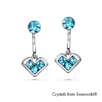 Devoted Love Earrings Aquamarine Pure Rhodium Plated Lush Addiction Crystals from Swarovski