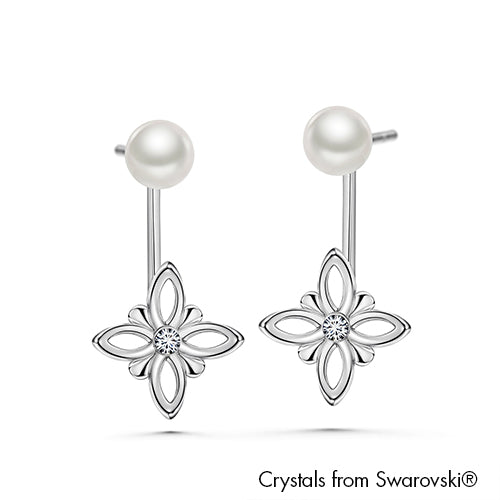 Multi-Style Earrings Clear Crystal Pure Rhodium Plated Lush Addiction Crystals and Pearls from Swarovski