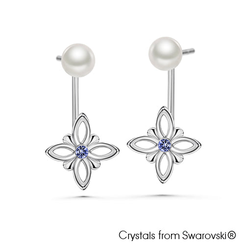 Multi-Style Earrings Sapphire Pure Rhodium Plated Lush Addiction Crystals and Pearls from Swarovski