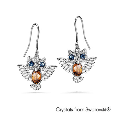 Wisdom Owl Earrings (Pure Rhodium Plated) - Lush Addiction