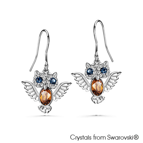 Wisdom Owl Earrings (Pure Rhodium Plated) - Lush Addiction, Crystals from Swarovski®