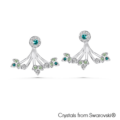 Gaia Earrings (Peridot, Pure Rhodium Plated) - Lush Addiction, Crystals from Swarovski