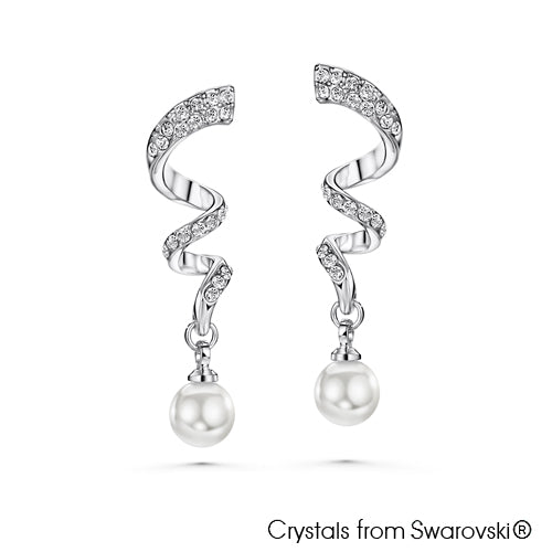 Graceful Swarovski Crystal Pearl Earrings Clear Crystal Pure Rhodium Plated Lush Addiction Crystals from Swarovski