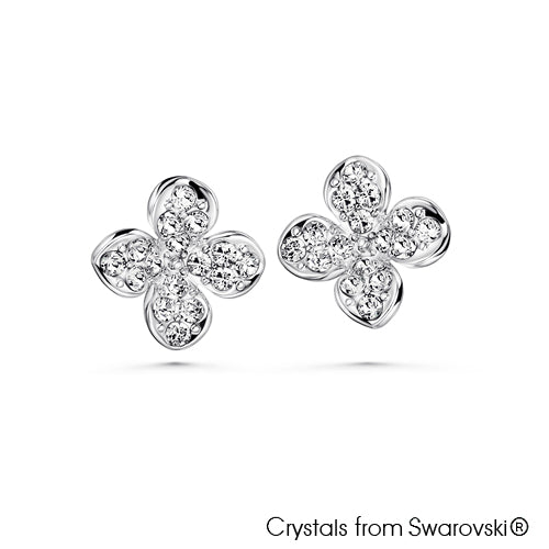 Clover Earrings Clear Crystal Pure Rhodium Plated Lush Addiction Crystals from Swarovski