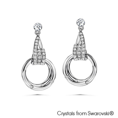 Circles of Life Earrings (Clear Crystal, Pure Rhodium Plated) - Lush Addiction, Crystals from Swarovski®