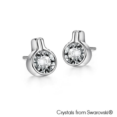Solitaire Earrings Clear Crystal Pure Rhodium Plated Lush Addiction Crystals from Swarovski