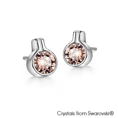 Solitaire Earrings Vintage Rose Pure Rhodium Plated Lush Addiction Crystals from Swarovski