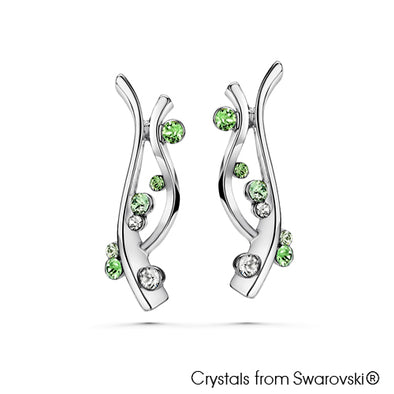 Aquatic Earrings Peridot Pure Rhodium Plated Lush Addiction Crystals from Swarovski