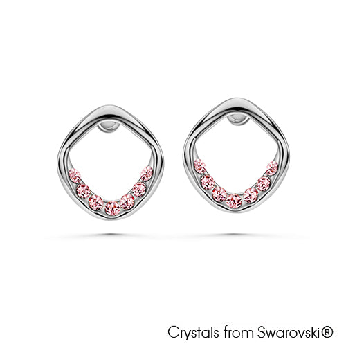 Holly Earrings Light Rose Pure Rhodium Plated Lush Addiction Crystals from Swarovski