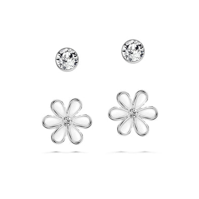 Solitaire Floral Earrings (Clear Diamond, Pure Rhodium Plated) - Lush Addiction, Crystals from Swarovski