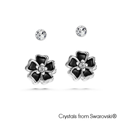 Solitaire and Floral Earrings Jet Pure Rhodium Plated Lush Addiction Crystals from Swarovski