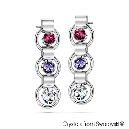 Eternity Earrings (Amethyst, Pure Rhodium Plated) - Lush Addiction, Crystals from Swarovski®