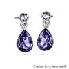 Fancy Droplet Earrings Tanzanite Pure Rhodium Plated Lush Addiction Crystals from Swarovski