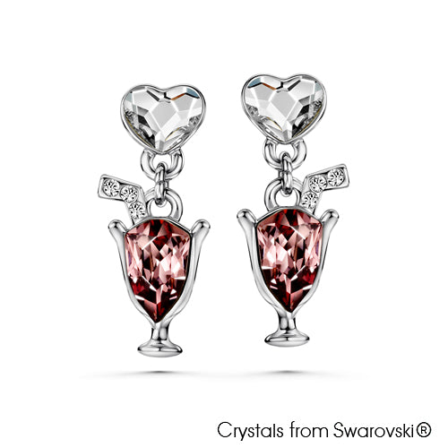 Love Cocktail Earrings Vintage Rose Pure Rhodium Plated Lush Addiction Crystals from Swarovski