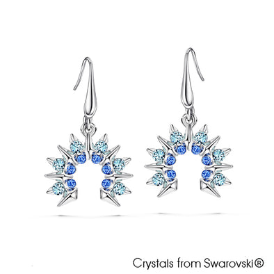Sunray Earrings Sapphire Pure Rhodium Plated Lush Addiction Crystals from Swarovski