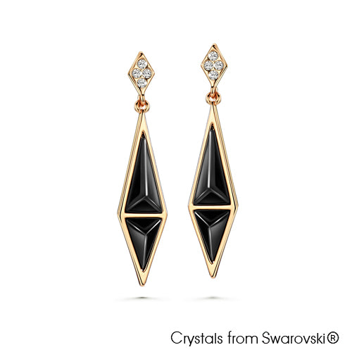 Enchanting Kite Earrings (Jet, 18K Gold Plated) - Lush Addiction, Crystals from Swarovski®