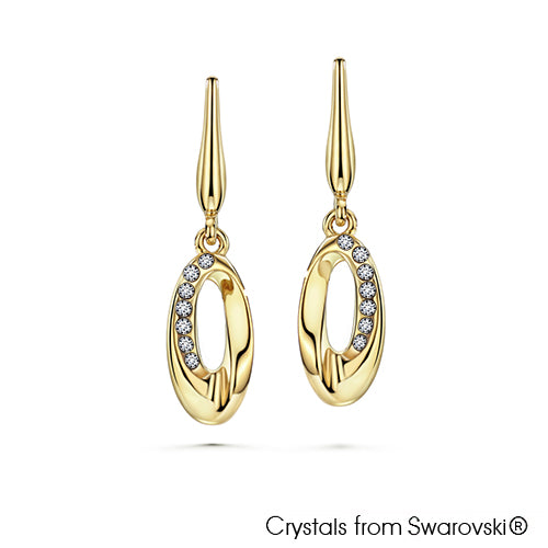 Ellipse Earrings (Clear Crystal, 18K Gold Plated) - Lush Addiction, Crystals from Swarovski®