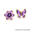 Grazia Earrings Tanzanite 18K Gold Plated Lush Addiction Crystals from Swarovski