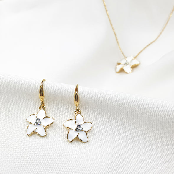 Fleur Necklace and Fleur Earrings 18K Gold Plated Lush Addiction Crystals from Swarovski