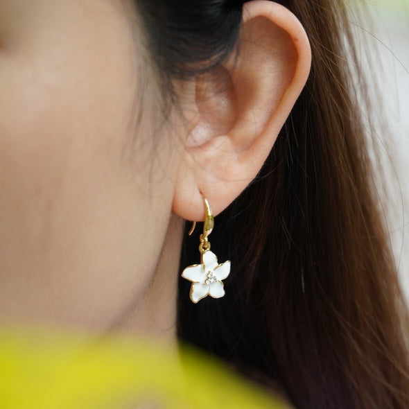 Fleur Earrings 18K Gold Plated Lush Addiction Crystals from Swarovski