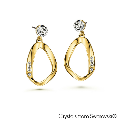 Amaris Earrings (Clear Crystal, 18K Gold Plated) - Lush Addiction, Crystals from Swarovski