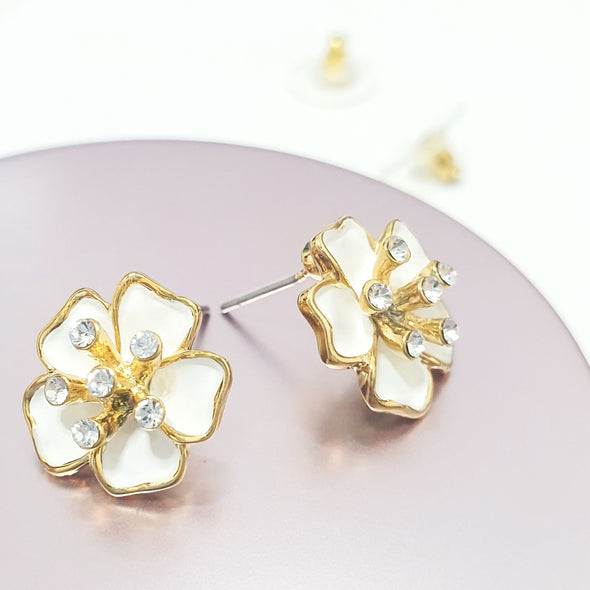 Sakura Earrings (Clear Diamond, 18K Gold Plated) - Lush Addiction, Crystals from Swarovski