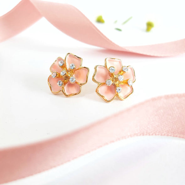 Sakura Earrings (Rose Pink, 18K Gold Plated) - Lush Addiction, Crystals from Swarovski