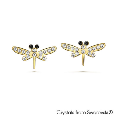 Dragonfly Earrings Clear Crystal 18K Gold Plated Lush Addiction Crystals from Swarovski