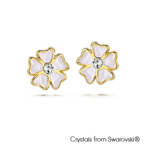 Sweet Flower Earrings Clear Crystal 18K Gold Plated Lush Addiction, Crystals from Swarovski®