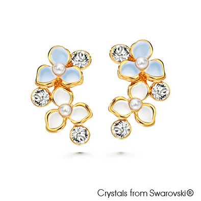 Spring Earrings Aquamarine 18K Gold Plated Lush Addiction Crystals from Swarovski