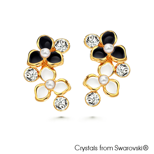 Spring Earrings Jet 18K Gold Plated Lush Addiction Crystals from Swarovski