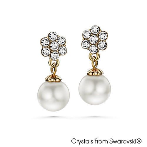 Floral Earrings with Swarovski Crystal Pearl Clear Crystal 18K Gold Plated Lush Addiction Crystals and Pearls from Swarovski