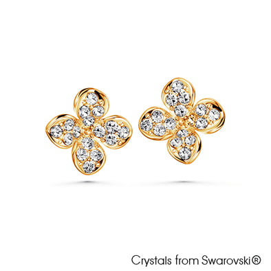 Clover Earrings (18K Gold Plated) - Lush Addiction, Crystals from Swarovski®
