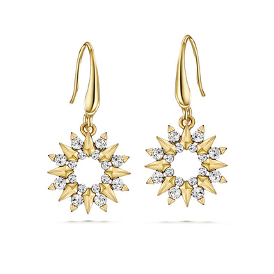Sunray Earrings (Clear Diamond, 18K Gold Plated) - Lush Addiction, Crystals from Swarovski