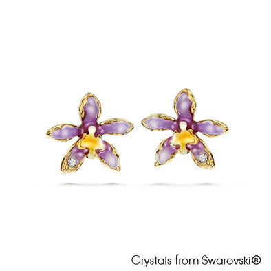 Cattleya Orchid Earrings Tanzanite 18K Gold Plated Lush Addiction Crystals from Swarovski