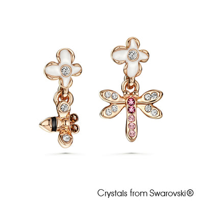Faunas Earrings Multi-Colour Rose Gold Plated Lush Addiction Crystals from Swarovski