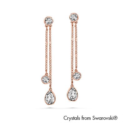 Long Droplet Earrings Clear Crystal Rose Gold Plated Lush Addiction Crystals from Swarovski