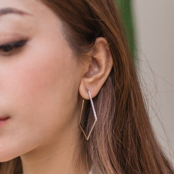 Angular Hoop Earrings Clear Crystal Rose Gold Plated Lush Addiction Crystals from Swarovski