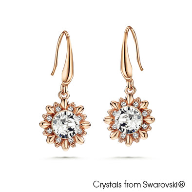 Sunflower Earrings Clear Crystal Rose Gold Plated Lush Addiction Crystals from Swarovski