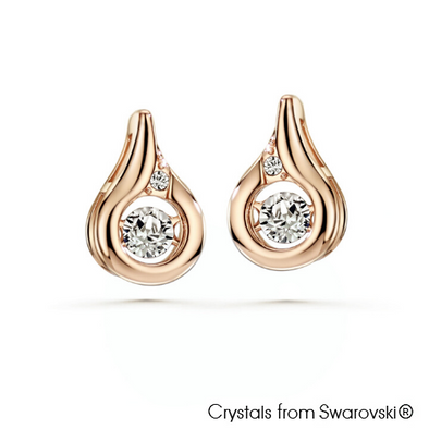 Dancing Droplet Earrings (Clear Crystal, Rose Gold Plated) - Lush Addiction, Crystals from Swarovski®
