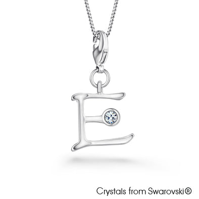 Alphabet E Charm Necklace (Clear Crystal, Pure Rhodium Plated) - Lush Addiction, Crystals from Swarovski®
