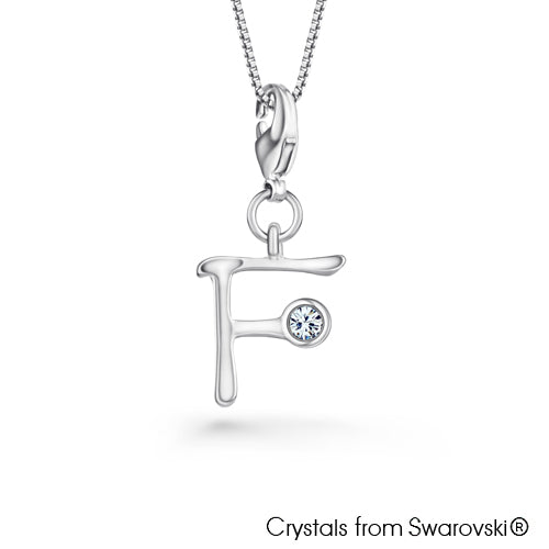 Alphabet F Charm Necklace (Clear Crystal, Pure Rhodium Plated) - Lush Addiction, Crystals from Swarovski®