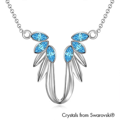 Guardian Angel Necklace (Aquamarine, Pure Rhodium Plated) - Lush Addiction, Crystals from Swarovski