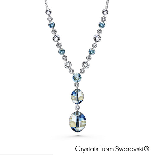 Leora Necklace (Clear Blue Shade, Pure Rhodium Plated) - Lush Addiction, Crystals from Swarovski®