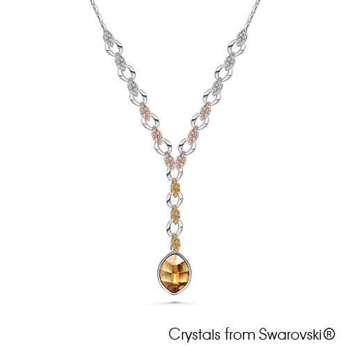 Phoebe Necklace Crystal Golden Shadow Shade Pure Rhodium Plated Lush Addiction Crystals from Swarovski