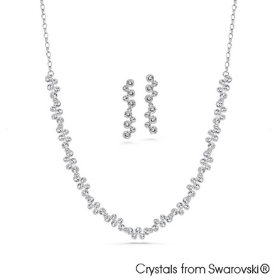 Symphony Necklace and Earrings Set Clear Crystal Pure Rhodium Plated Lush Addiction
