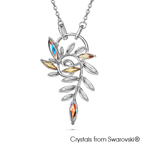 Fern Necklace (Crystal Aurora Borealis, Pure Rhodium Plated) - Lush Addiction, Crystals from Swarovski®