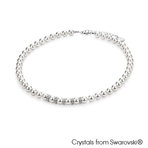 Classic Swarovski Pearl Necklace (Pure Rhodium Plated) - Lush Addiction