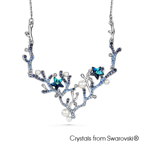 Coralyne Statement Necklace (Clear Crystal, Pure Rhodium Plated) - Lush Addiction, Crystals from Swarovski®