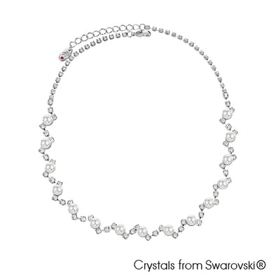 Crystal Pearl Necklace Clear Crystal Pure Rhodium Plated Lush Addiction Crystals from Swarovski